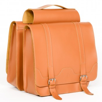 Leather panniers for bicycle