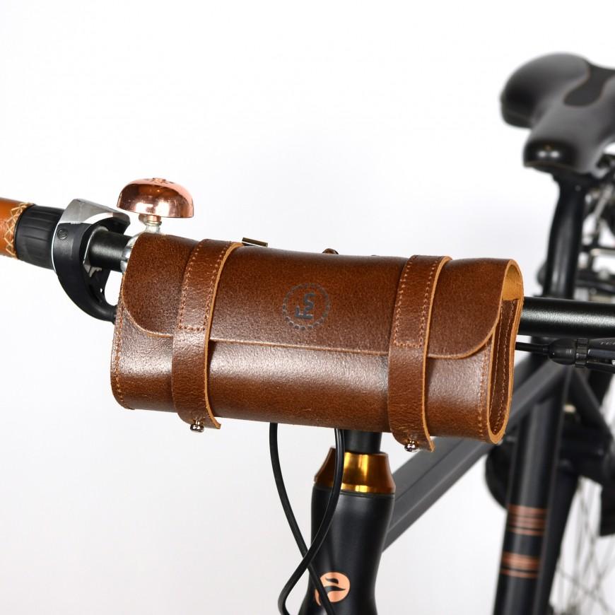 Leather handlebar bag