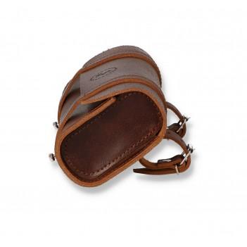 Leather saddlebag for bicycle