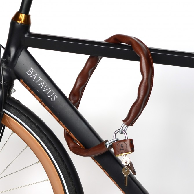 Bicycle lock with leather cover
