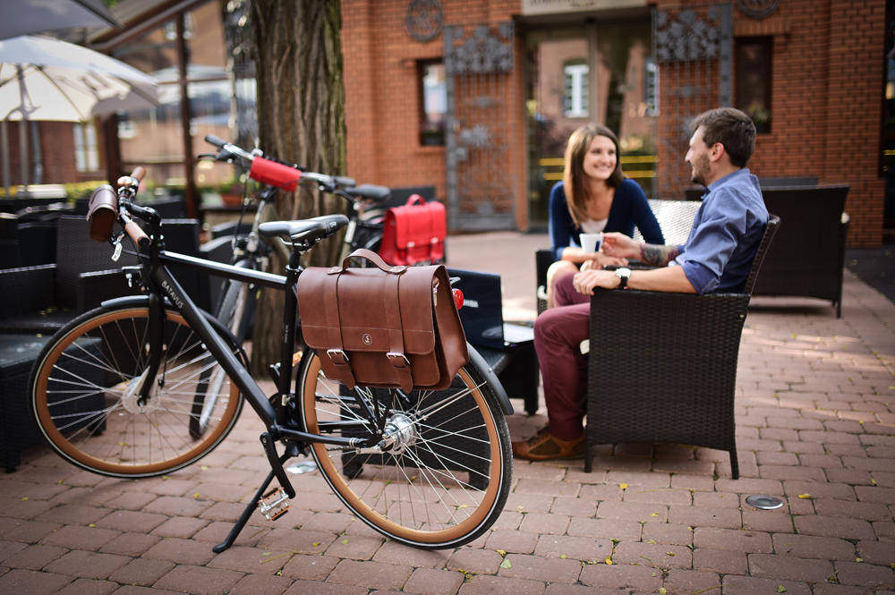 Leather bicycle bags, bicycle panniers